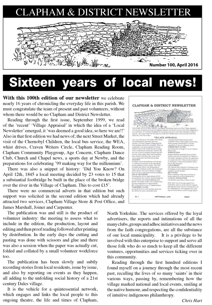 16 years of local news Clapham Newsletter No 100 April 2016 width=