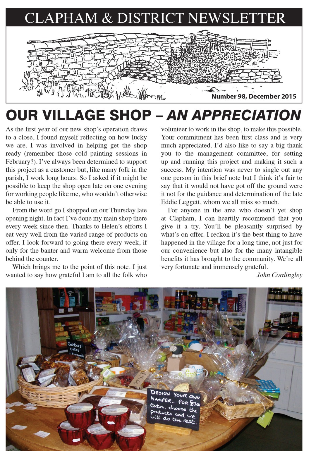 Village shop one year on Newsletter No 98 December 2015