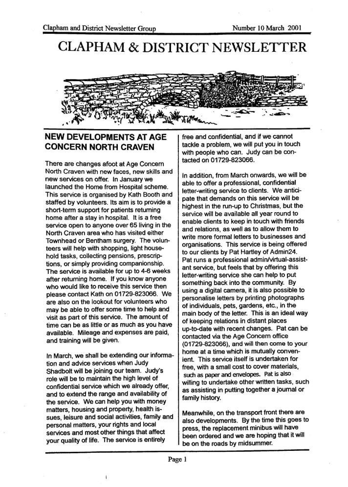Clapham_Newsletter_No10_March_2001-1