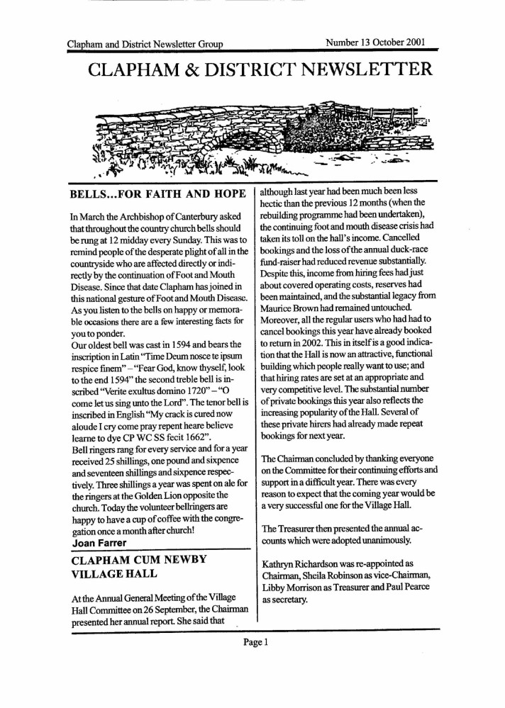 Clapham_Newsletter_No13_October_2001-1
