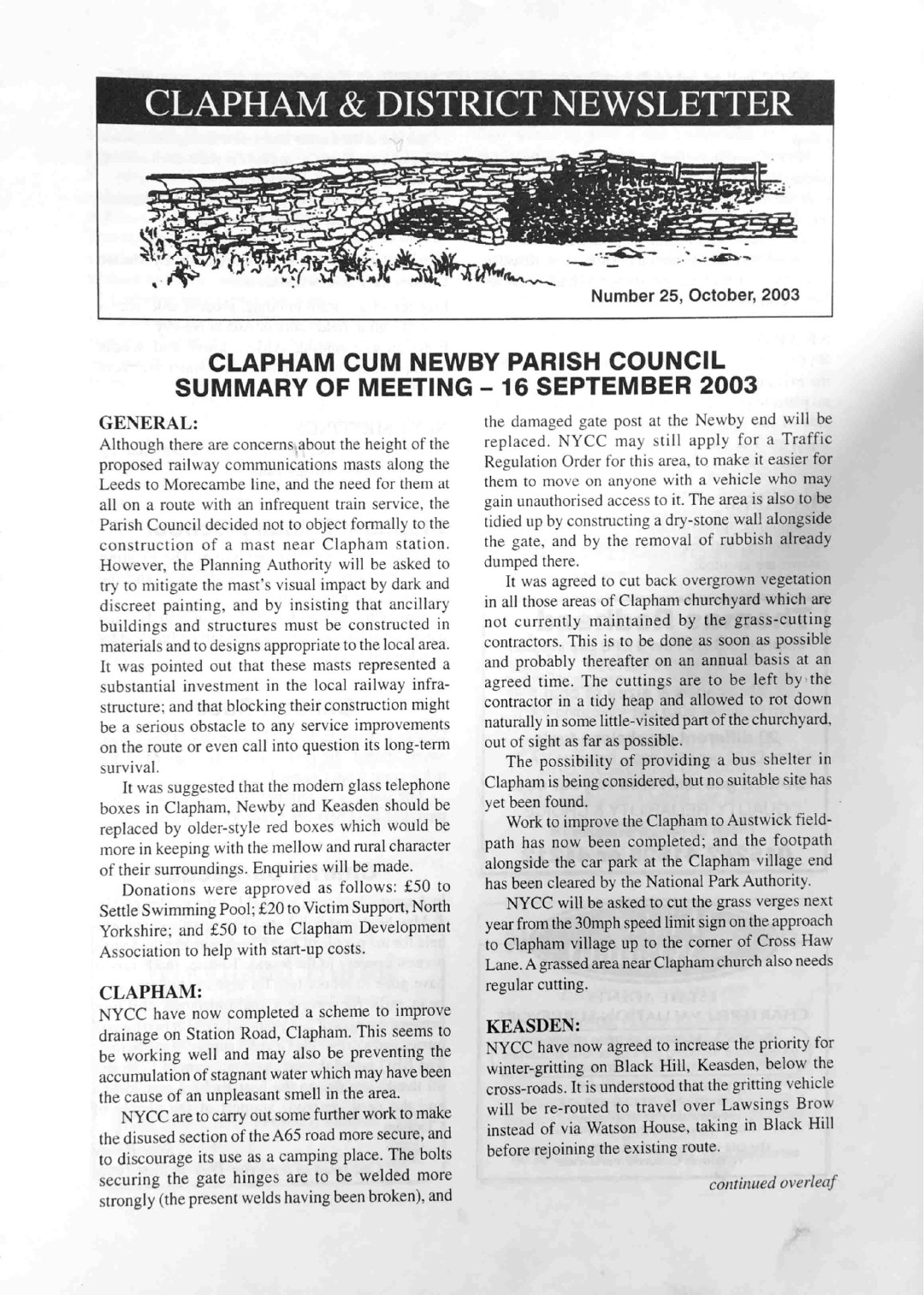 Clapham_Newsletter_No25_October_2003-1