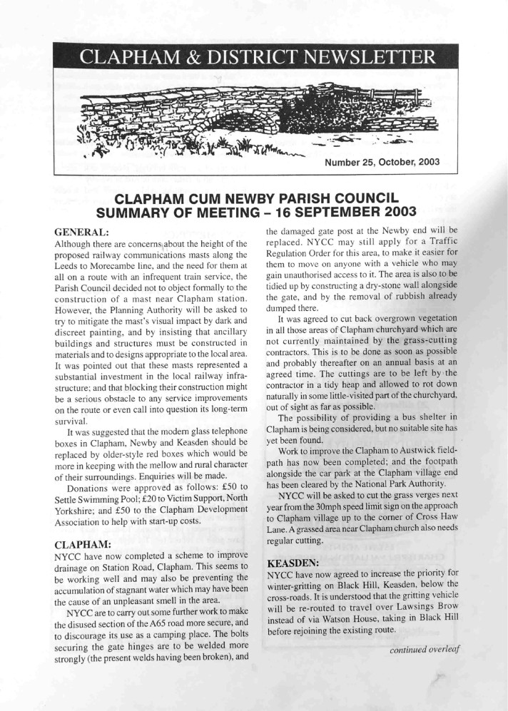 Clapham_Newsletter_No25_October_2003-1