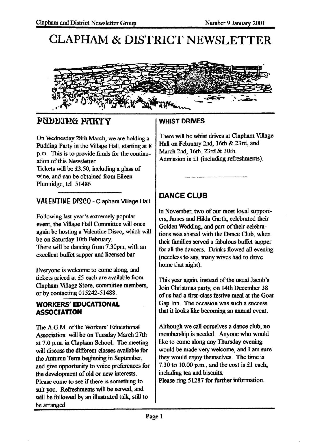 Clapham_Newsletter_No9_January_2001-1
