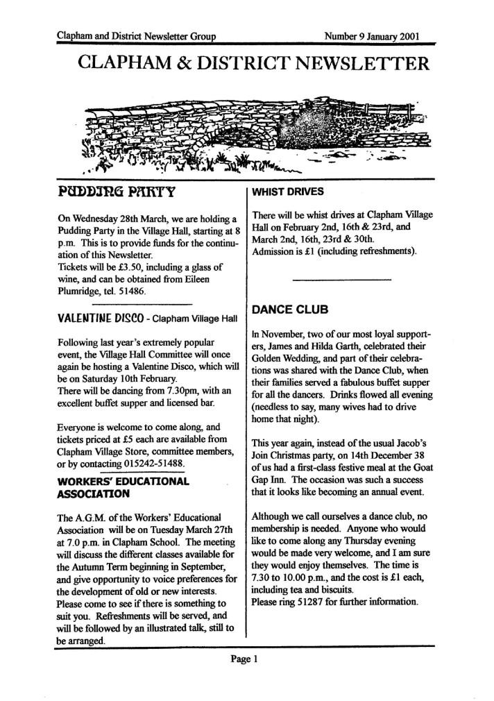 Clapham_Newsletter_No9_January_2001-1